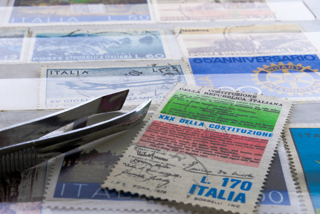 stamp collection of Italian post office handled with care