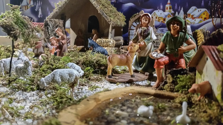 traditions: composition of Neapolitan crib made according to ancient traditions