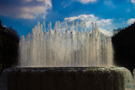 jets: jets of water from the fountain in Milan Stock Photo