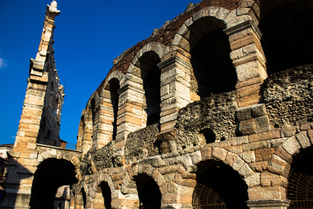 The Arena of Verona is a Roman amphitheater in the center of Verona
