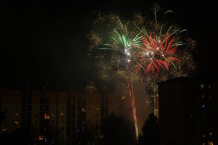 explosive, colorful and spectacular fireworks used for a village festival Stock Photo