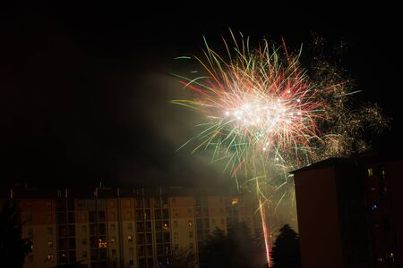 explosive, colorful and spectacular fireworks used for a village festival Standard-Bild