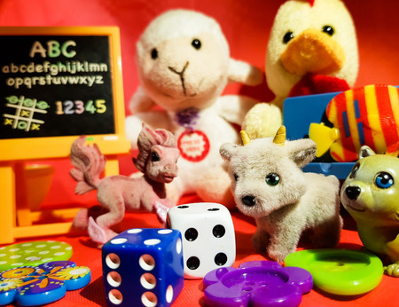 collection of small toys of various kinds