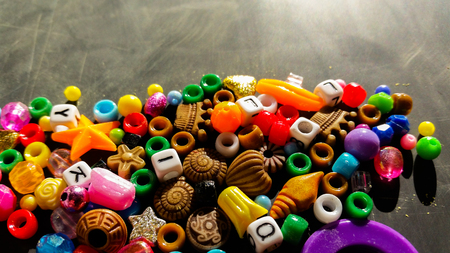 Colored beads are used to make bracelets and necklaces