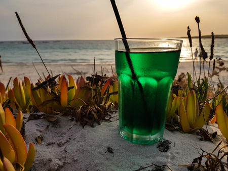 mint-based cocktail ready to be sipped by the sea Stock Photo