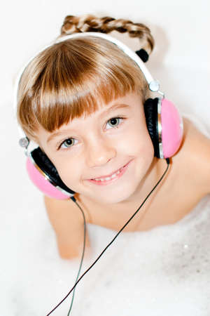 girl with headphones for music photo