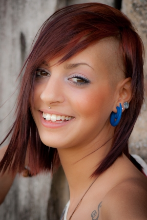 portrait of girl with red hair Imagens