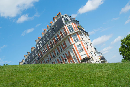 Optical illusion in Montmartre. Building That Seems not straight. Stock Photo