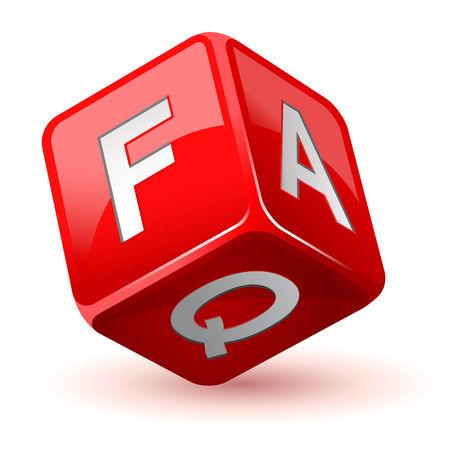 questions: vector illustration of dice faq icon