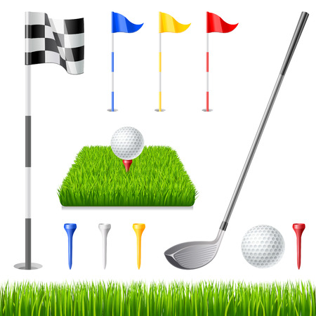 golf stick: El icono del golf fij�. Club de golf, bandera del golf, pelota de golf y cristal verde Vectores