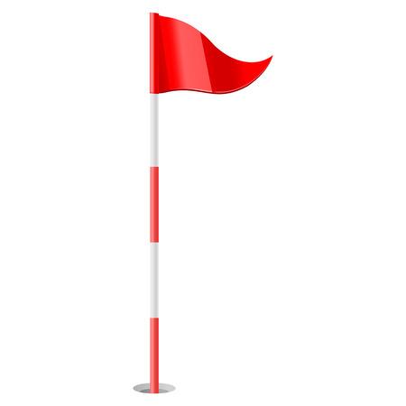 golf flag: vector illustration of Red golf flag