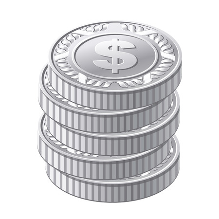 vector illustration of silver coins Vector
