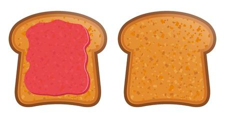 preserves: ilustraci�n vectorial de pan tostado con mermelada Vectores