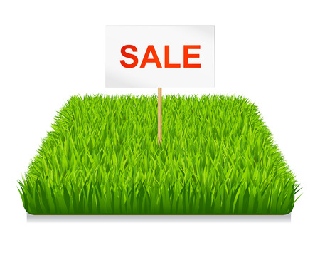 doormat: Sale of land. Green grass Illustration