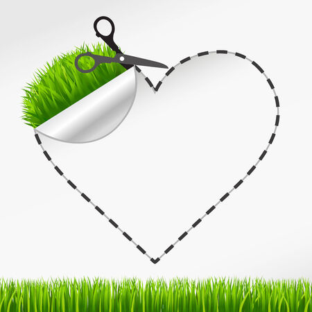 Vector scissors cut heart sticker. Green grass