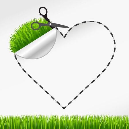 scissors cutting paper: Vector scissors cut heart sticker. Green grass