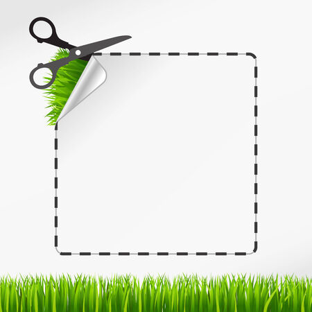 green coupon: Vector scissors cut sticker. Green grass