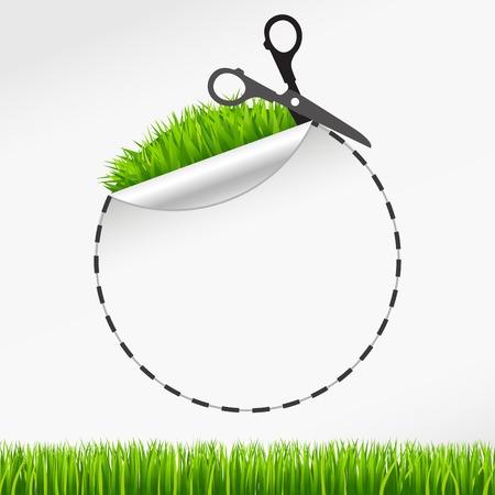 discount coupon: Vector scissors cut round sticker. Green grass