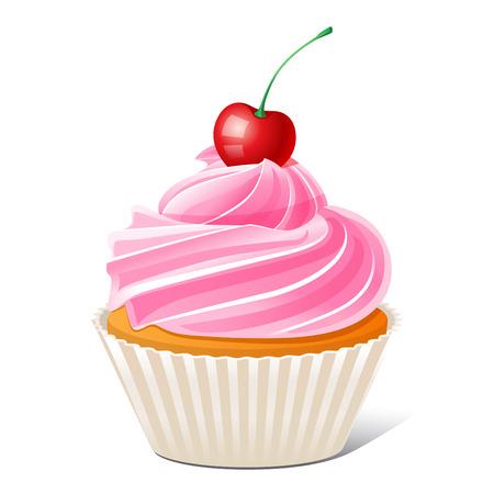 桜のカップケーキのベクトル イラスト