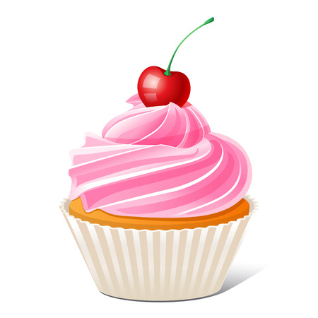 vector illustration of Cupcake with cherry Illustration