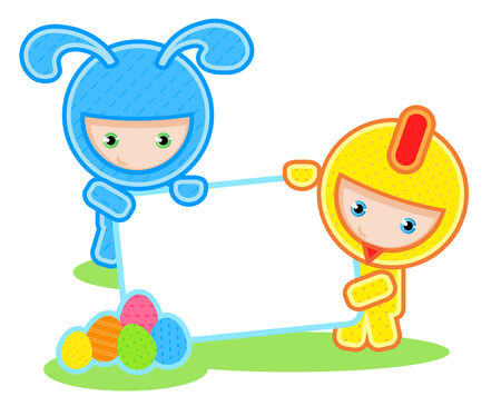 vector illustration of kids and banner. Easter. Vector