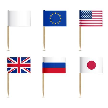 Bandiere stuzzicadenti icona. Americana, unione Europen, Regno Unito, Russia, bandiere giapponesi