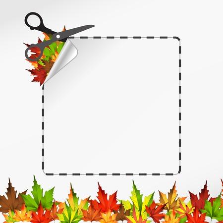 Vector sscissors cut sticker. Autumn leaf Vector