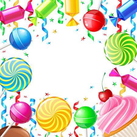 Tło urodziny ze słodyczami. Ilustracja wektorowa 10eps