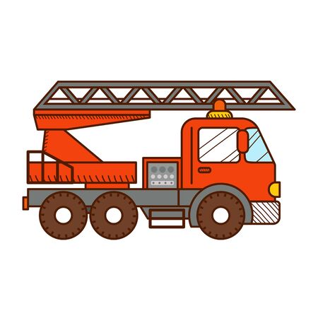 Fire truck isolated on white background. Vector illustration for kids and babies
