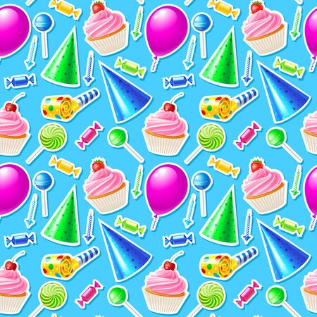party horn blower: Happy Birthday seamless pattern. Vector illustration Illustration