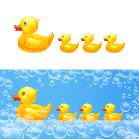 limpid: rubber duck with ducklings. Transparent bubbles Illustration