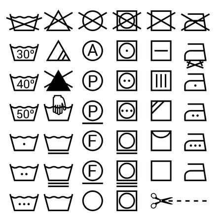 Set of washing symbols. Laundry icons isolated on white background  イラスト・ベクター素材