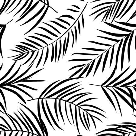Tropische palmbladeren zwart en wit. naadloos patroon Vector Illustratie