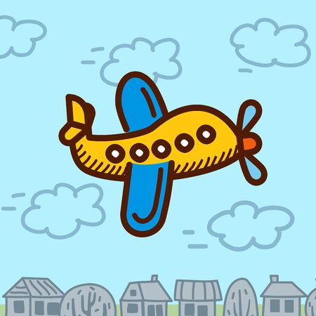 jet airplane: airplane cartoon vector illustration in the city