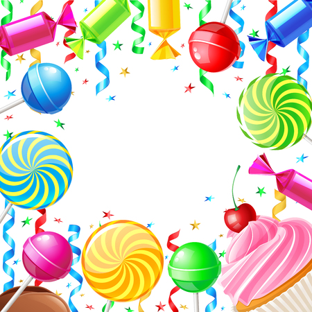 10eps: Birthday background with sweets. Vector illustration 10eps