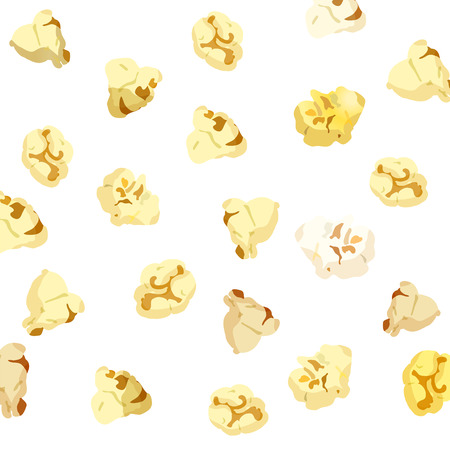 10eps: Popcorn falling on white background. vector 10eps Illustration