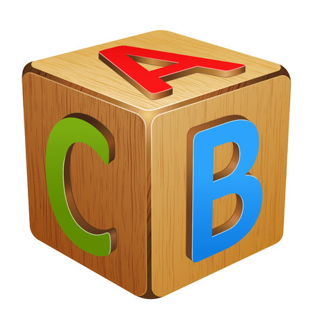 10eps: wooden cube with letters A,B,C 10eps Illustration