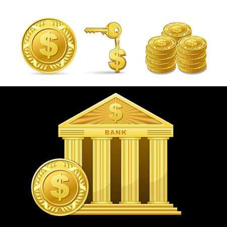 dwell: icon golden bank with money isolated Illustration