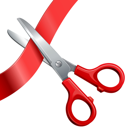 hedges: scissors cut off the ribbon isolated on white background