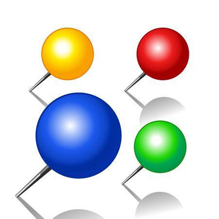 Set of push pins isolated on white background Illustration