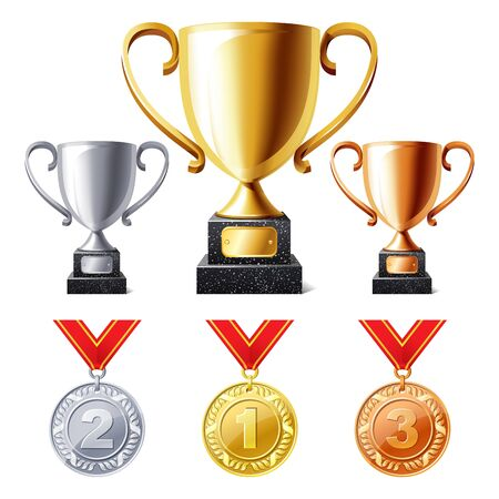 vector illustration of Trophy cups and medals Illustration