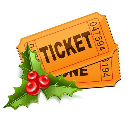 Christmas Sale. Tickets with the mistletoe