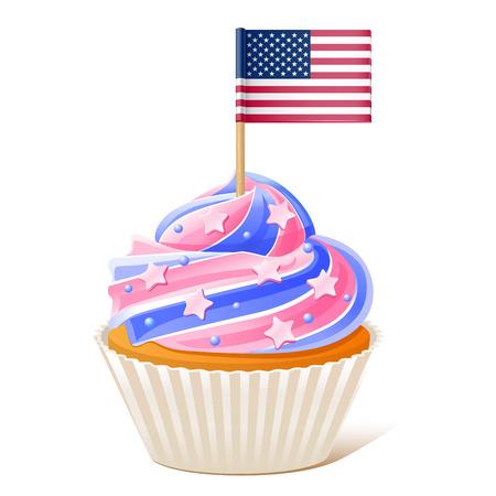Quattro luglio. Bigné americano. Bandiera stuzzicadenti isolato su sfondo bianco