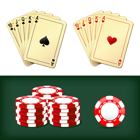 royal flush: royal flush playing cards and chips casino