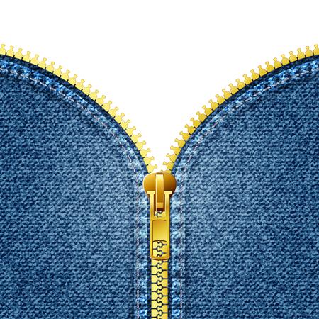 Zipper open on denim texture