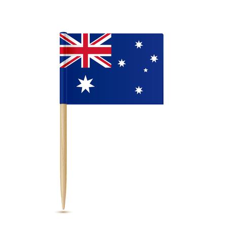 Toothpick bandiera Australia su sfondo bianco