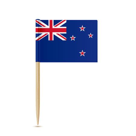 Bandiera della Nuova Zelanda stuzzicadenti su sfondo bianco