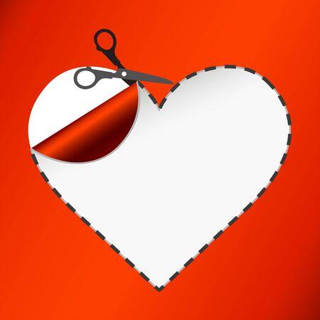 Scissors. Vector sticker. Heart Illustration