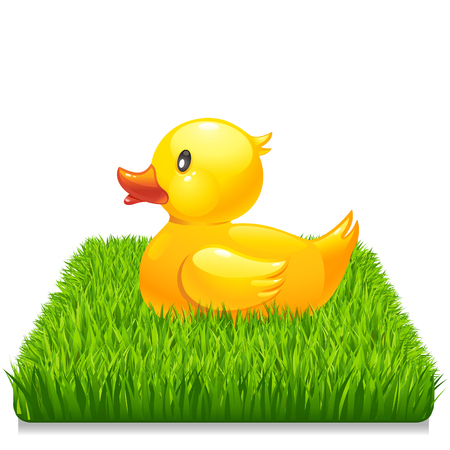 Yellow duck on fresh green grass 10eps Ilustração