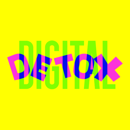 Digital detox hand drawn vector illustration. Disconnected internet life style concept. Inscription for t shirts, posters, cards, stickers. - Vector Иллюстрация